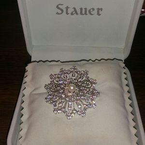 Stauer .925 diamond & Freshwater Pearl Brooch
